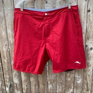 Mens Tommy Bahama Button Swim Trunks Red Size 34